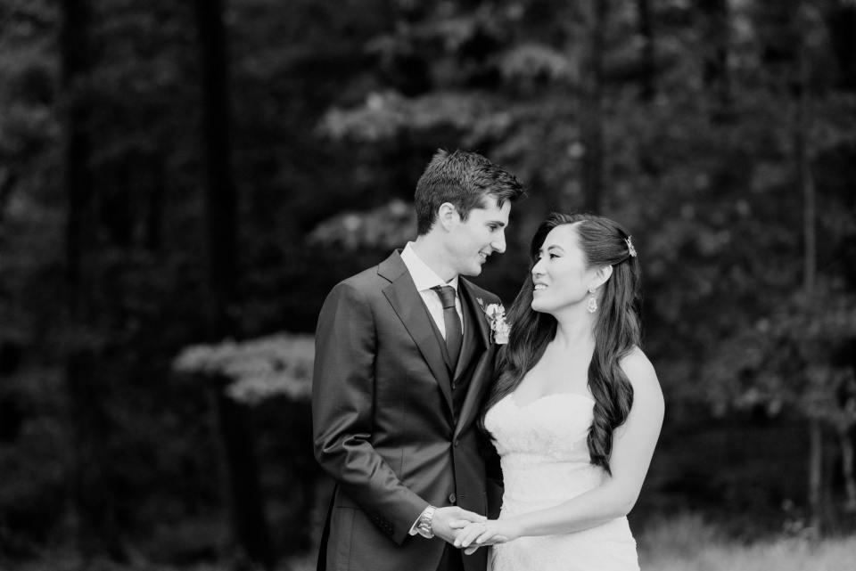 outdoor black and white bride and groom in love, NJ wedding photographer