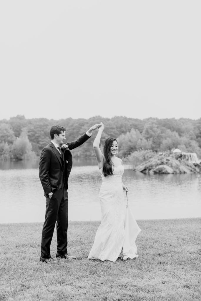 bride and groom first look, outdoor bride and groom first look, Rock Island Lake Club wedding, black and white bride and groom, NJ wedding photographer