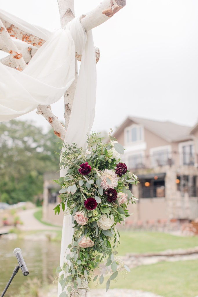 Chuppah floral, burgundy and blush ceremony floral, rustic ceremony florals , Anna Rose florals
