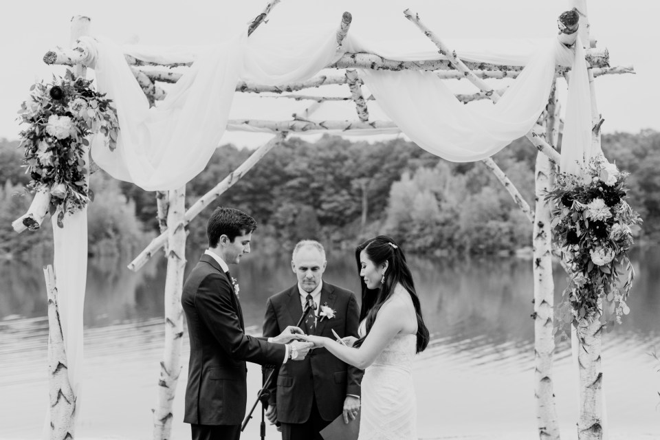 black and white wedding ceremony photo, Rock Island Lake Club outdoor wedding ceremony, North Jersey wedding ceremony, NJ wedding photographer