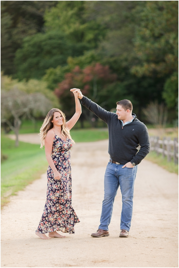 couple having fun, couple dancing engagement photo, outdoor engagement photo
