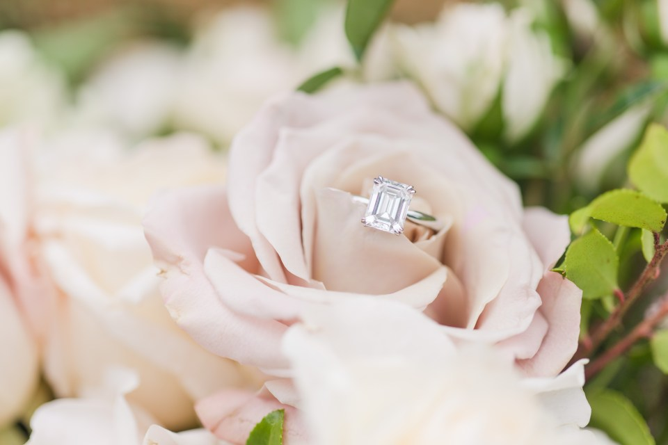 emerald cut solitaire engagement ring, Hamilton Jewelers, NJ wedding photographer