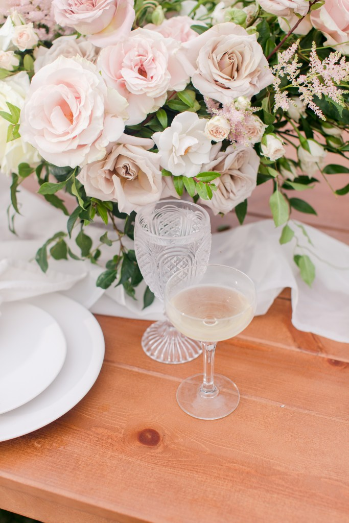 white rose low table centerpiece, NJ wedding photographer