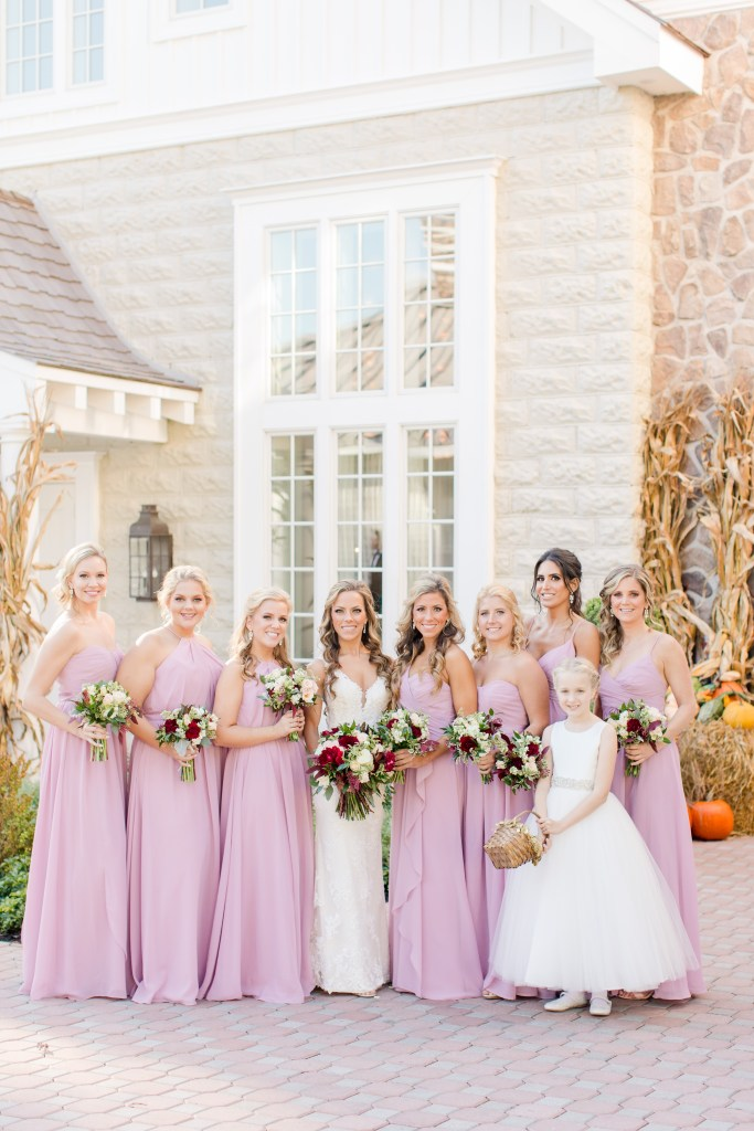 bride and her girls, bridal party formal photo, Ryland Inn, NJ wedding photographer