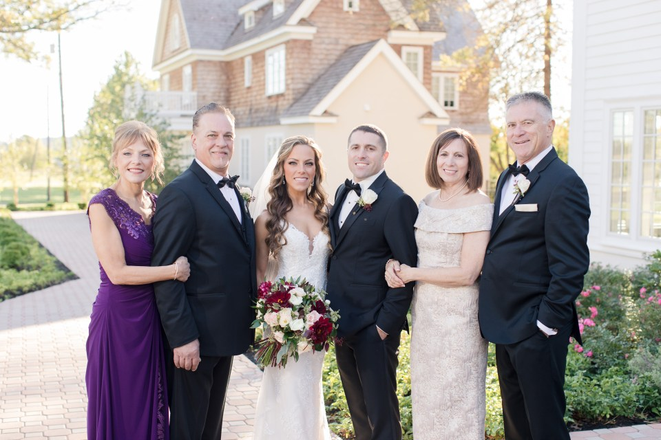 bride groom and family portrait, outdoor family portrait, NJ wedding photographer