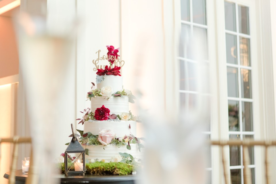 4 tier white wedding cake with floral decor, Palermo's Bakery wedding cake, North Jersey weddings