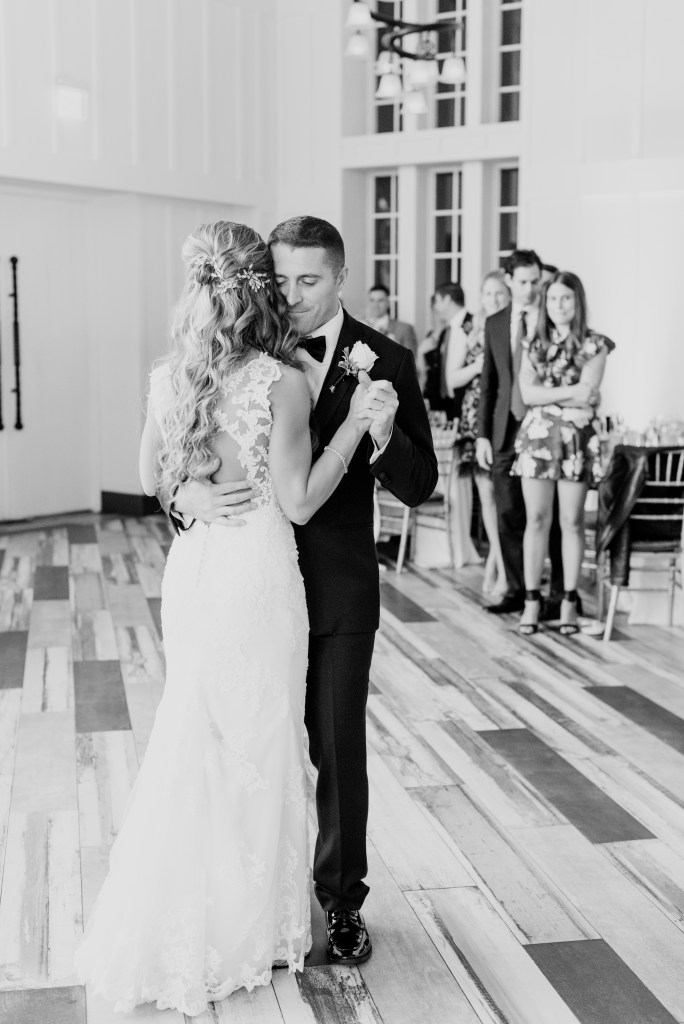 bride and groom first dance, first dance black and white photo, New Jersey wedding photographer