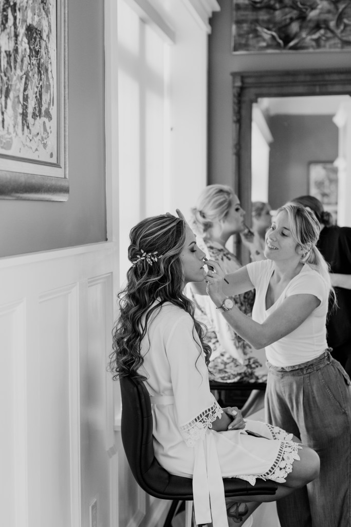 bride getting ready black and white, NJ wedding photographer