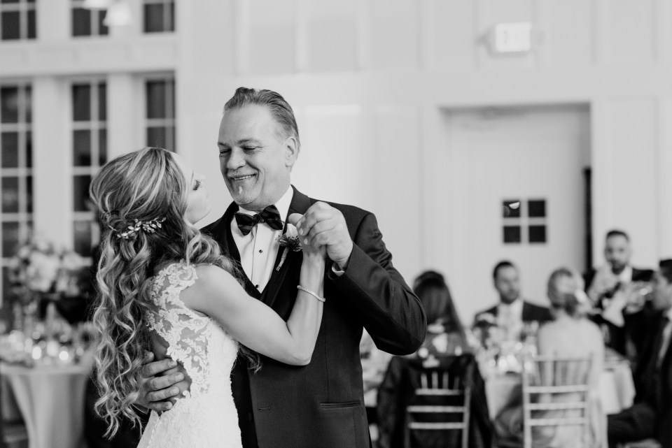 father of the bride and bride dance, black and white wedding dance candid photo