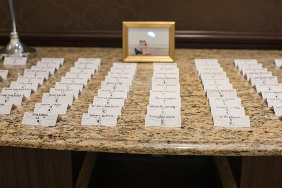 display of wedding reception place cards