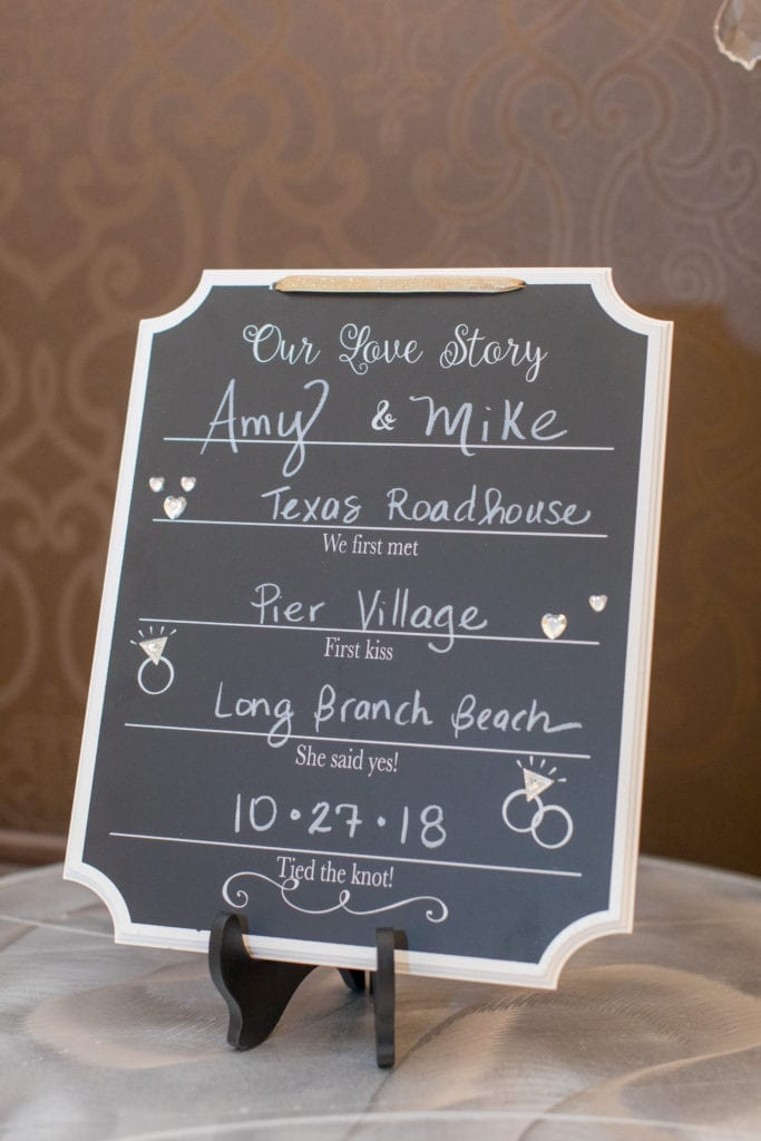 chalkboard wedding signage sharing the new couples history including where they met and when they got married