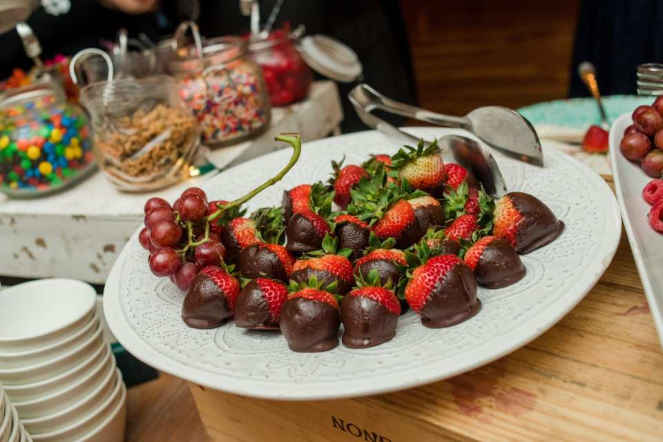 Viennese display of chocolate dipped strawberries at Bear Brook Valley