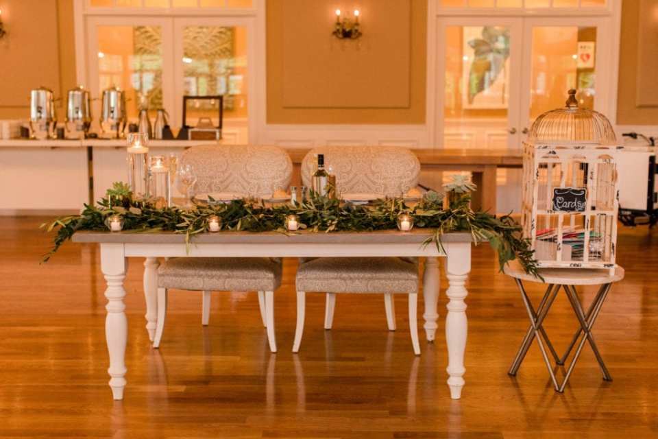 sweetheart table with eucalyptus at Bear Brook Valley by NJ wedding photographer