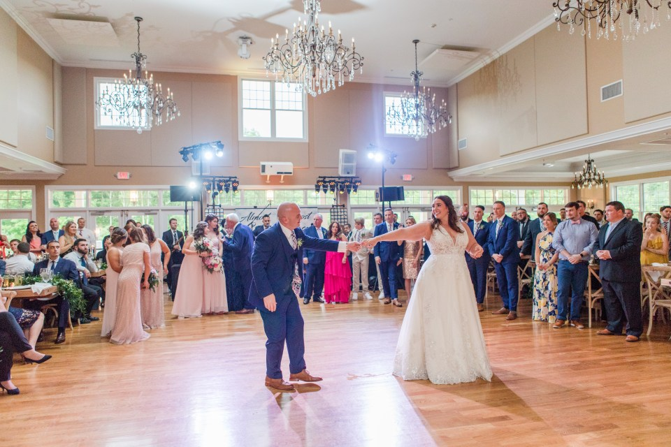 first dance under the chandeliers at Bear Brook Valley by NJ wedding photographer