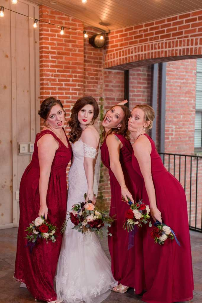 silly photo of bride and members of the bridal party