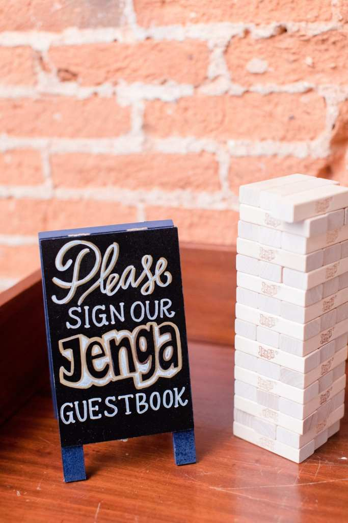 unique jenga guestbook for guest signatures