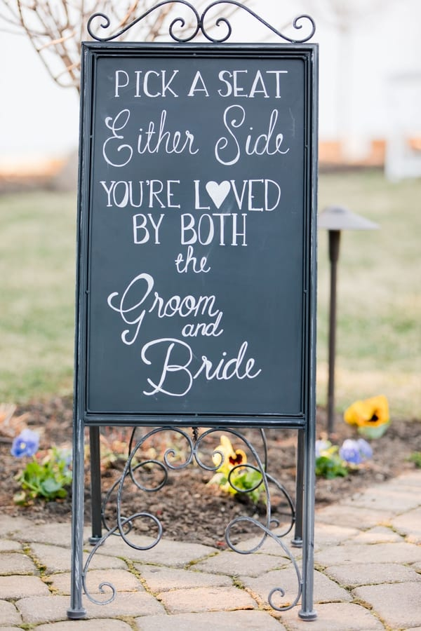 ceremony sign telling people where to sit