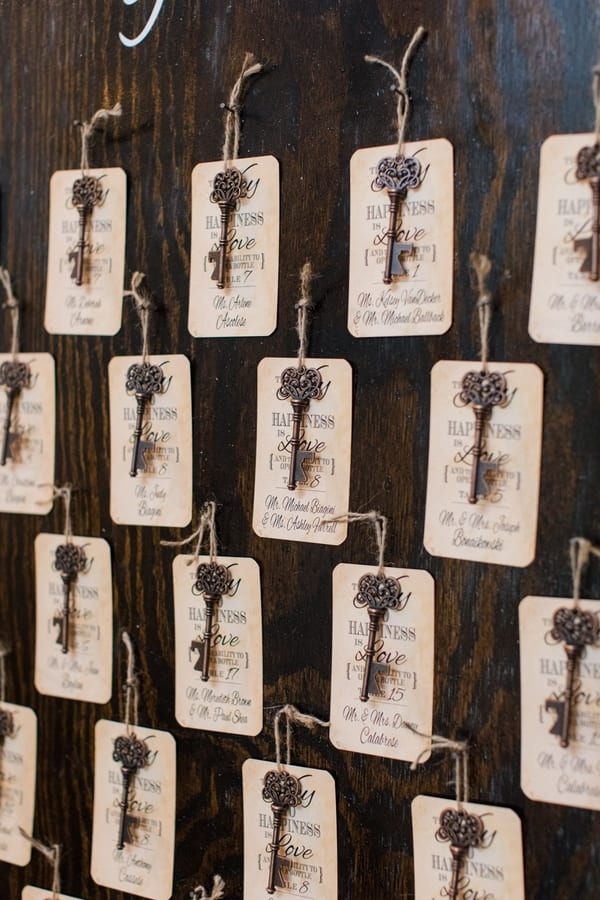 antique key and place cards handing on display