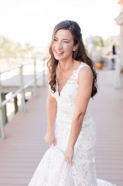 casual bridal portrait outide on the boardwalk