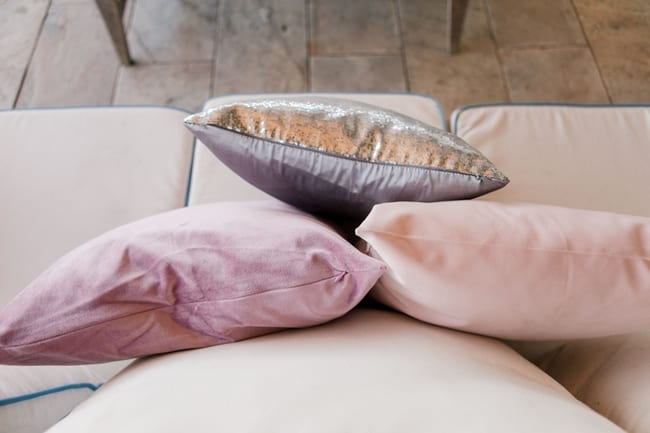 pillows used throughout the lounge reception space