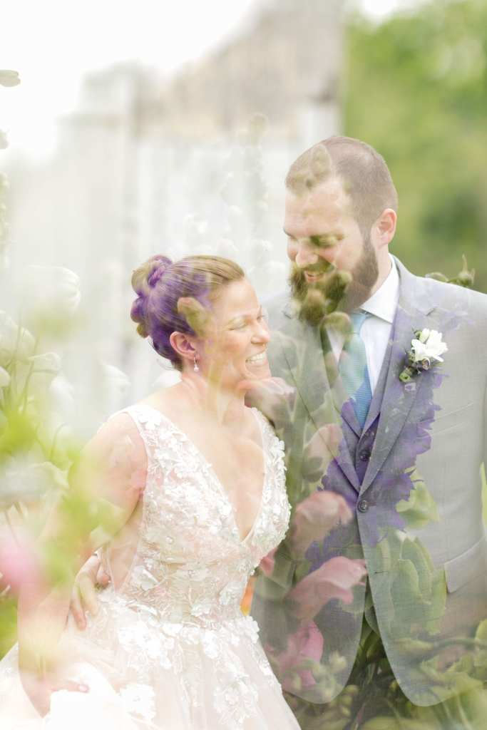 double exposure of the bride and groom side by side with wild flowers