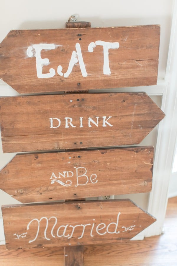 Details of the wedding: signage pointing to where the food, drinks and ceremony are/will be