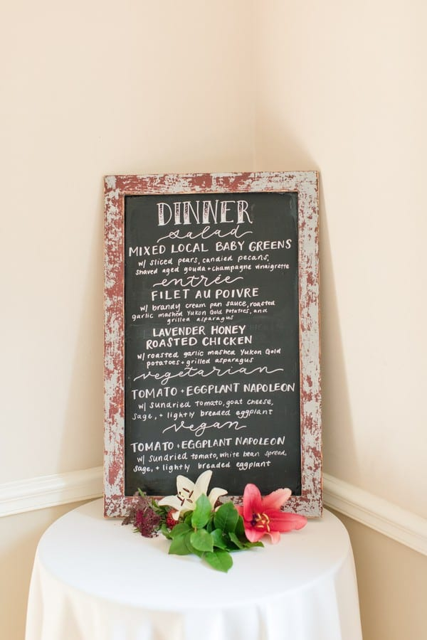Details of the wedding: chalkboard menu board announcing what was being served for dinner