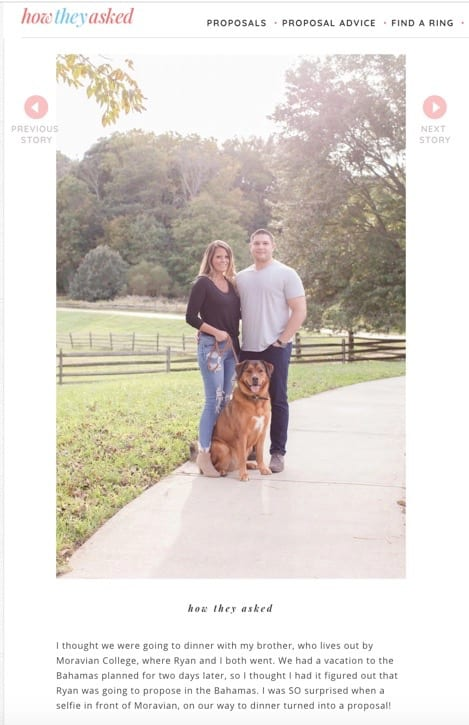 Beth and Ryan publication photo with dog from How They Asked