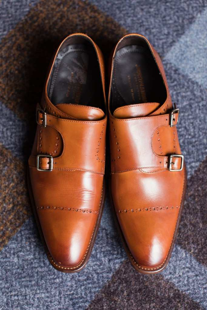 The grooms brown shoes