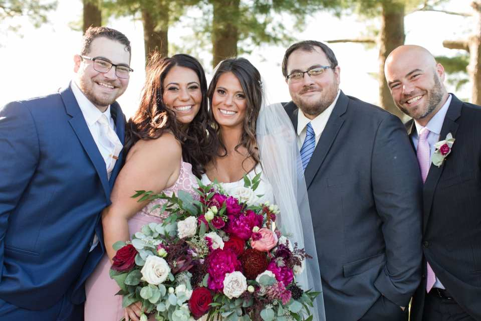 the bride and her brothers and sister