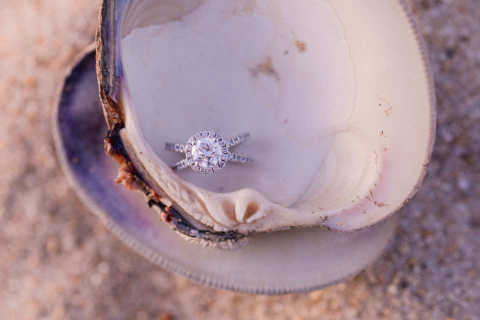 round diamond engagement ring with diamond halo and diamond criss cross band in seashell on the beach by Ocean of Diamonds