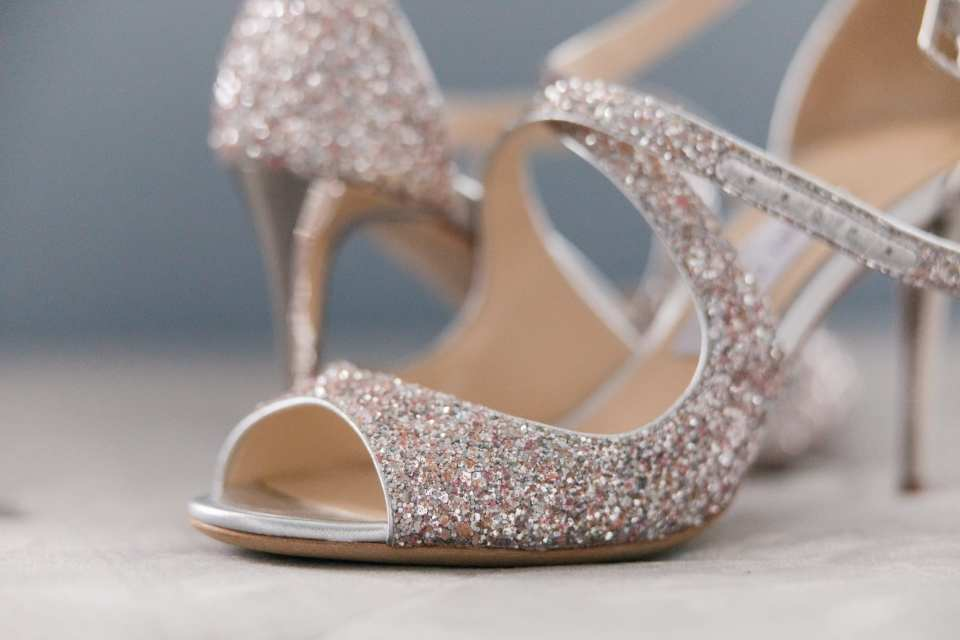 close up of the brides sparkly Jimmy Choo heels