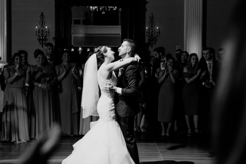 Black and white photo of the bride and groom during their first dance at the Palace at Somerset Park