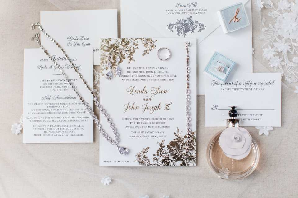 Garden themed wedding invitation suite by Bella Figura, accented with brides jewelery