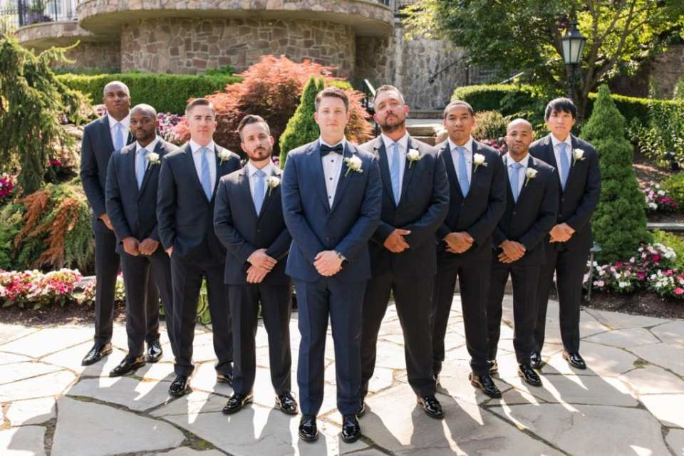 Formal photo of the groom and goomsmen