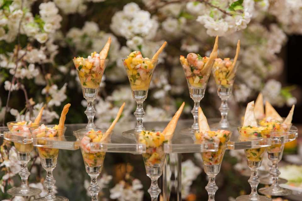 Shrimp cocktail displayed in small cordial glasses at the Park Savoy Estate