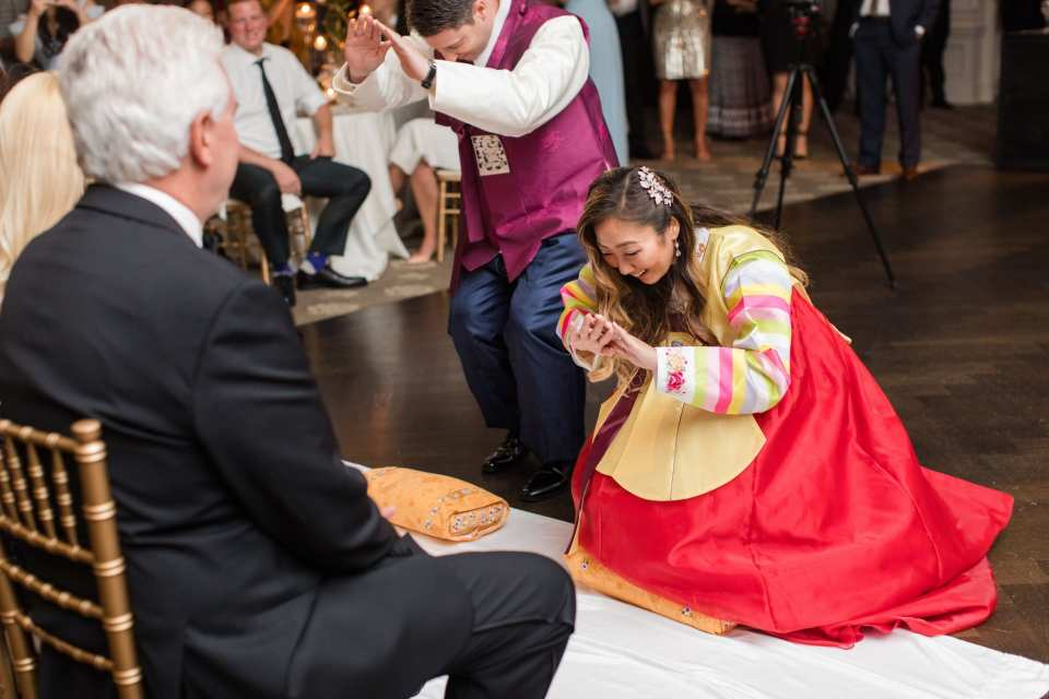 The bride and groom take part in a Korean wedding tradition