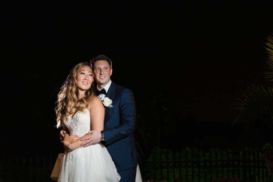 Nighttime portrait of the bride and groom