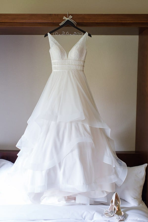Full length photo of the Mikaella Bridal gown on display