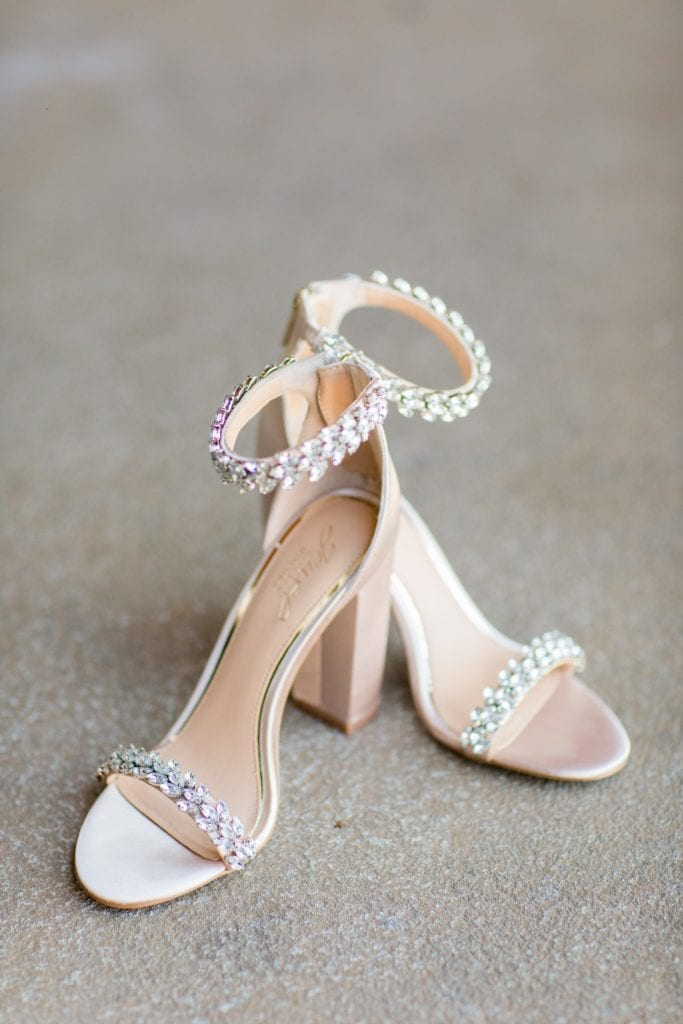 The brides white crystal high heels