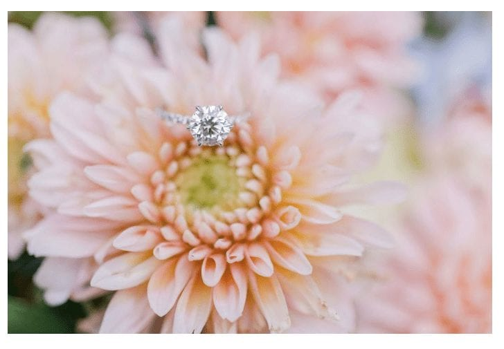 princess cut diamond engagement ring laying on a dahlia flower