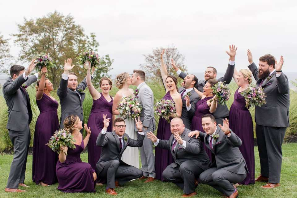 The wedding party in a fun picture in these Blue Mountain Resort Wedding photos