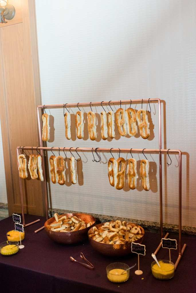 Pretzel display during cocktail hour in these Blue Mountain Resort Wedding photos