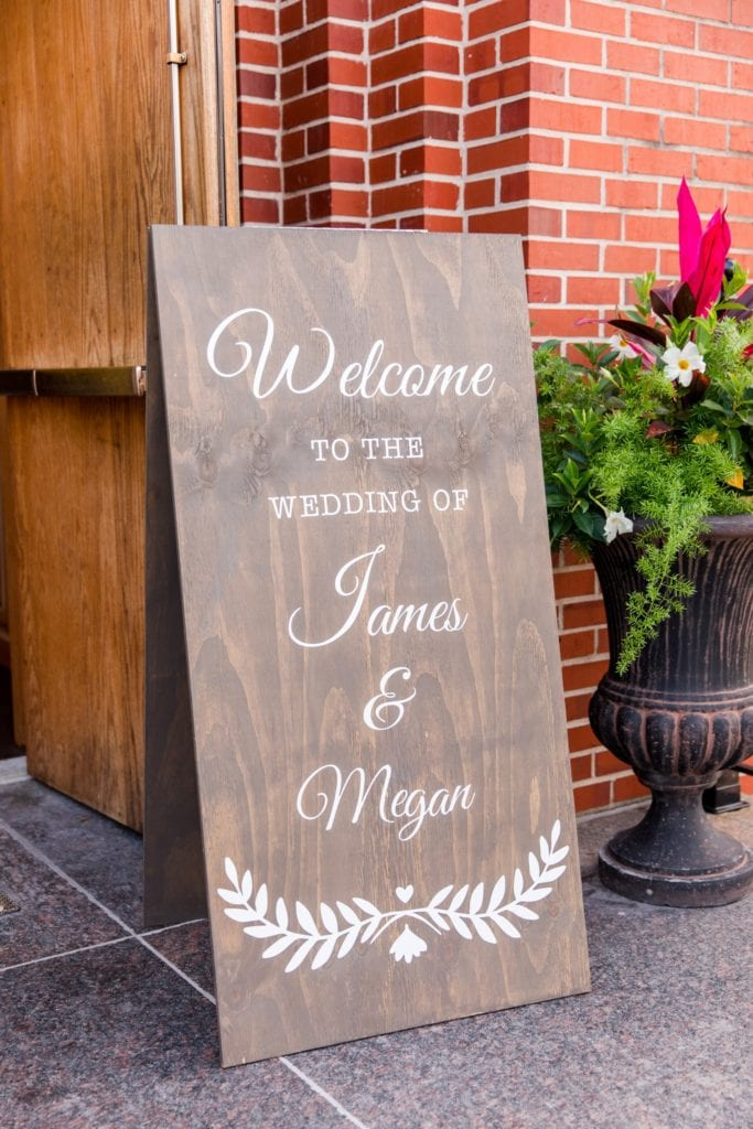 Custom sign outside of the church
