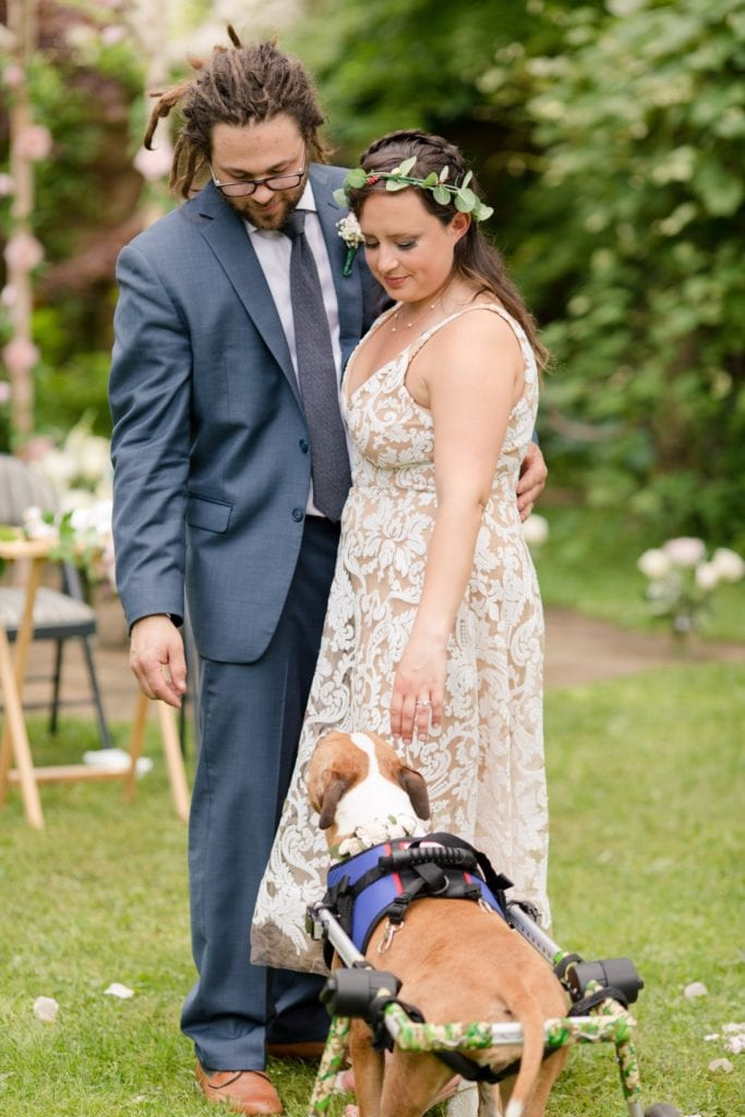 A candid of the bride and groom during their outdoor wedding reception with one of their beloved pet dogs