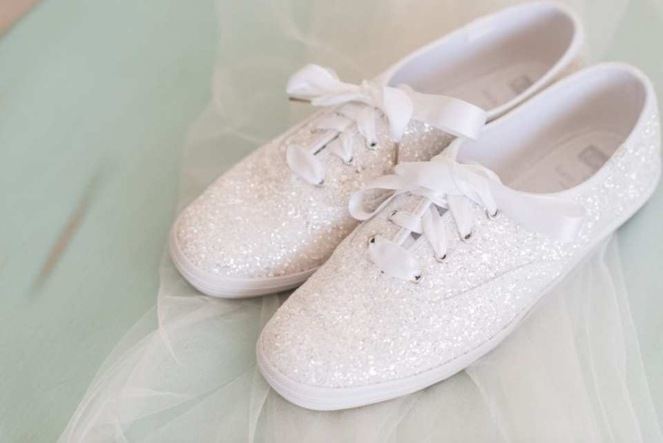 The brides white glitter Ked sneakers