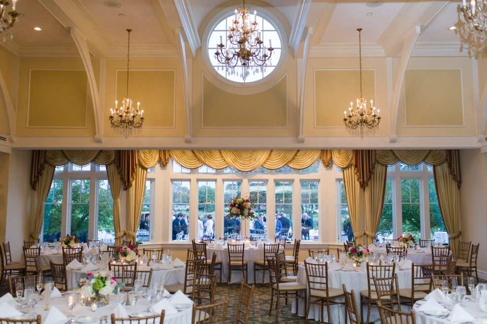 Wide angle photo inside the reception in these Sprink Lake Golf Club wedding photos