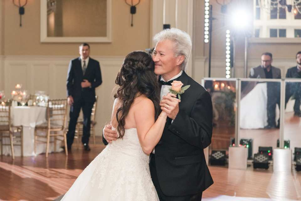 The father of the bride dancing with his daughter