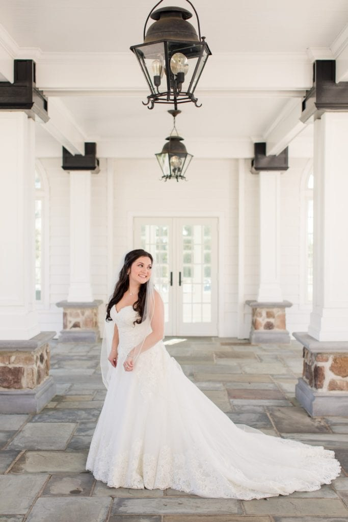 Formal bridal portrait of bride in Madison James gown