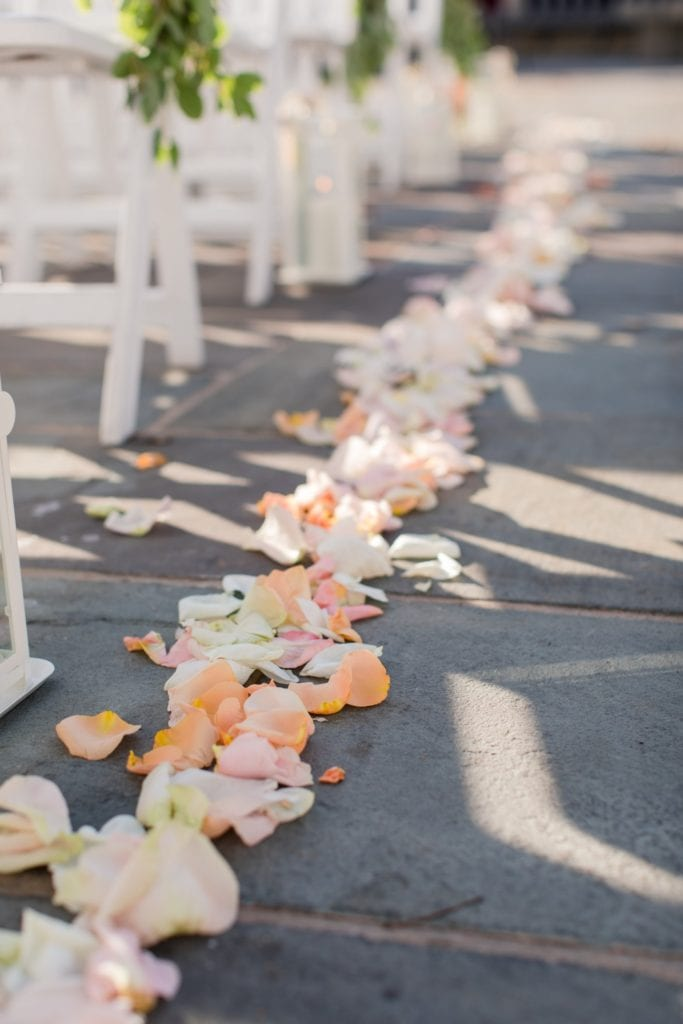 Fresh flower petals line the aisle of the outdoor ceremony location